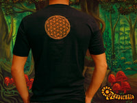 orange Yellyfish crop circle T-Shirt blacklight handmade embroidery no print goa t-shirt