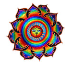 Rainbow Sun with Buddha Eyes colourful mandala patch buddhist sun