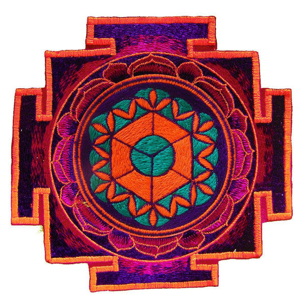 element earth yantra patch holy geometry sacred art blacklight flower of life in planet gaia