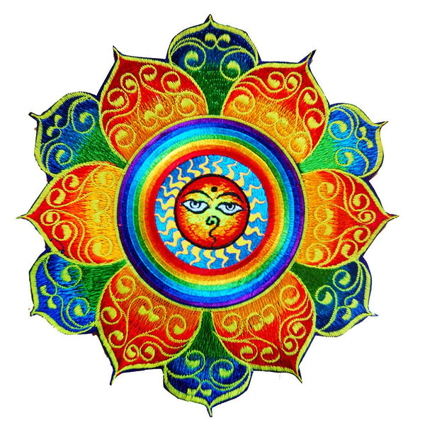 Rainbow Sun with Buddha Eyes colourful mandala patch buddhist yellow sun