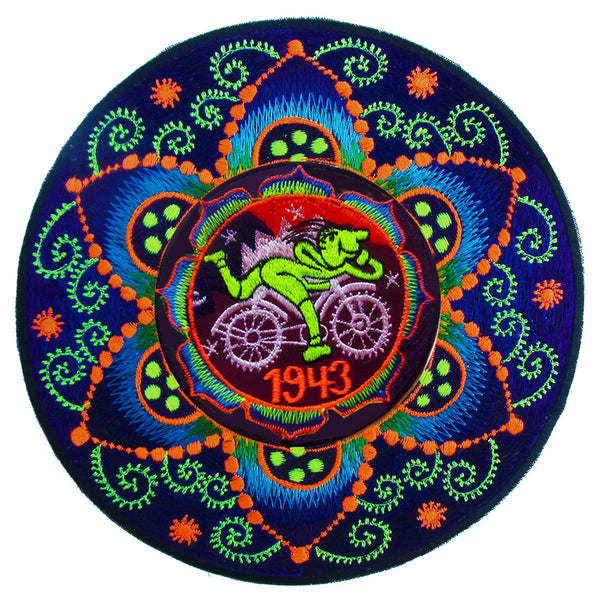 Hofmann LSD Bicycle Day fractal flower of life Patch 1943 Psychedelic Fractal Acid Trip Goa Hippie Visionary Medicine Divine Healing