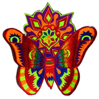Huichol butterfly patch big size moon candle rainbow blacklight active psychedelic art
