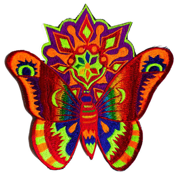Huichol butterfly patch medium size moon candle rainbow blacklight active psychedelic colours
