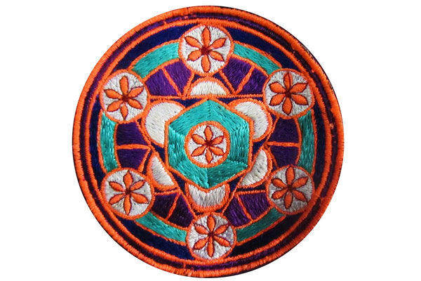 sacred geometry - patch - element aether flower of life blacklight active white
