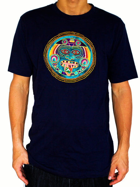 Maya Hofmann 2012 T-Shirt - greek mandala ancient LSD calendar blacklight handmade embroidery no print goa t-shirt