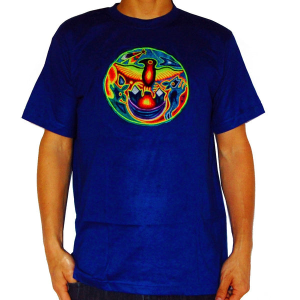 Huichol Shaman Eagle T-Shirt tribal shaman design blacklight handmade embroidery no print