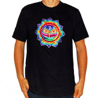 Eyes of Buddha T-Shirt blacklight aum buddhism rainbow embroidery no print goa t-shirt