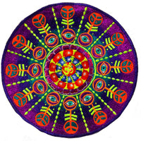 AUM Mandala Patch psychedelic eyes blacklight glowing embroidery