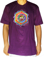 Fractal LSD mandala T-Shirt - rainbow Hofmann Bicycle Day mandala blacklight handmade embroidery no print goa t-shirt