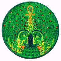 Golden cosmic ankh of love - Psychedelic blacklight Patch