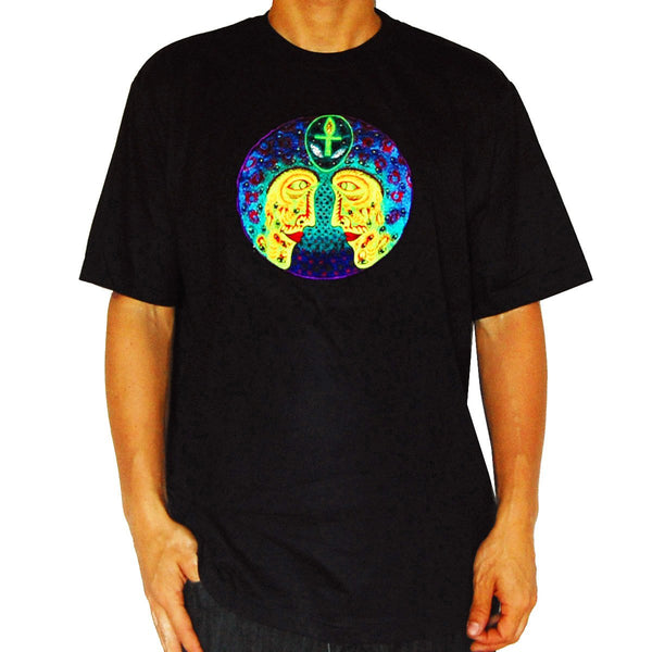 Alien Ankh cosmic consciousness T-Shirt  blacklight design handmade embroidery no print
