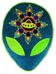 Alien UFO crop circle mystery spirit patch tuquese glitter ET from andromeda