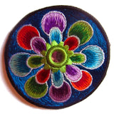purple flower small patch with mirror 8cm beautiful flower power hippie art