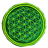 maroon UV orange flower of life patch small size embroidery application with variations - handcrafted sacred geometry