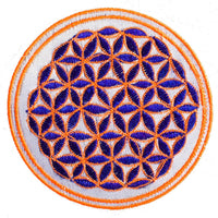 white black flower of life patch small size with variations