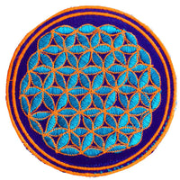 white yellow flower of life patch small size with variations