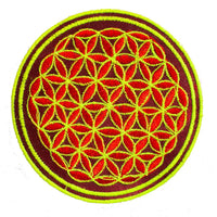 green orange flower of life patch small size with variations