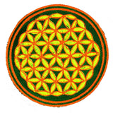 blue orange flower of life patch small size with variations