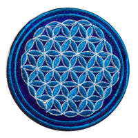 blue flower of life patch small size with variations