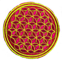 UV orange blue flower of life patch sacred geometry embroidery for sew on