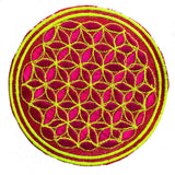 maroon white black flower of life patch sacred geometry embroidery for sew on