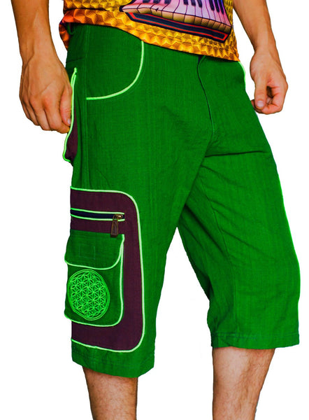 Design your own pant - 8 pockets, 4 with hock&loop, 2 with zip lock - any colour and size blacklight active lines flower of life clamdiggers