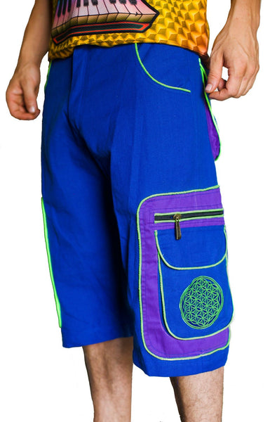 Design your psy pant - 8 pockets, 4 with hock&loop, 2 with zip lock - any colour and size blacklight active lines flower of life clamdiggers