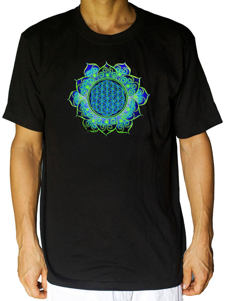 Blue Flower of Life fractal mandala shirt - sacred geometry embroidery no print drunvalo melchizedek handmade - choose any colour and size