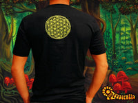 Blue Flower of Life mandala shirt - sacred geometry embroidery no print drunvalo melchizedek handmade - choose any colour and size