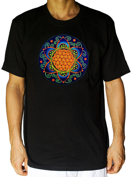 Fractal Flower of Life T-Shirt - healing geometry flower of life handmade embroidery no print crop circle torino italy psychedelic