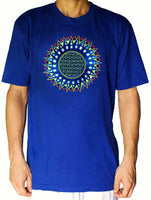 Blue Flower of Life star shirt - sacred geometry embroidery no print drunvalo melchizedek handmade - choose any colour and size