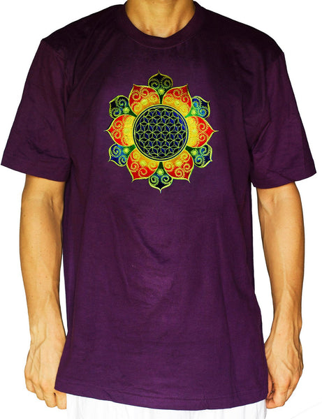 Flower of Life rainbow fractal shirt - sacred geometry embroidery no print drunvalo melchizedek handmade - choose any colour and size