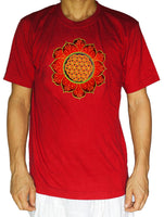 Fluro Flower of Life T-Shirt - healing geometry blacklight active handmade embroidery no print golden uv psychedelic