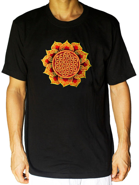 Fractal Flower of Life T-Shirt - healing geometry flower of life handmade embroidery no print golden blacklight psychedelic