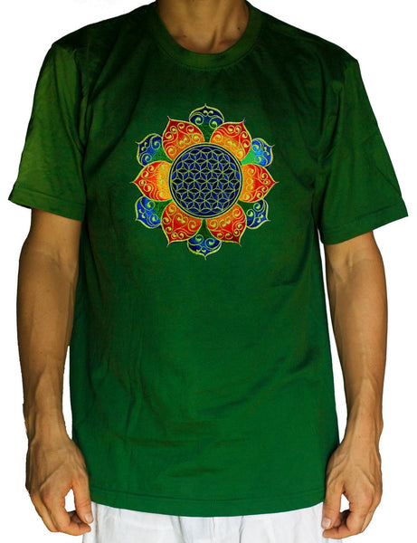 Flower of Life celtic shirt - sacred geometry embroidery no print divine healing yantra handmade - choose any colour and size