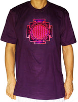 purple yantra flower of life shirt - sacred geometry embroidery no print drunvalo melchizedek handmade - choose any colour and size