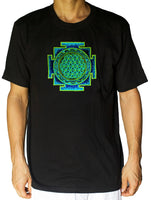 blue yantra flower of life shirt - sacred geometry embroidery no print drunvalo melchizedek handmade - choose any colour and size