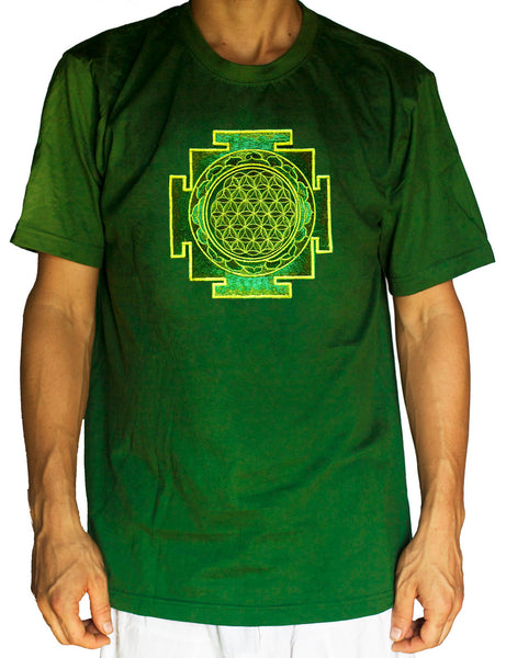 green yantra flower of life shirt - sacred geometry embroidery no print drunvalo melchizedek handmade - choose any colour and size