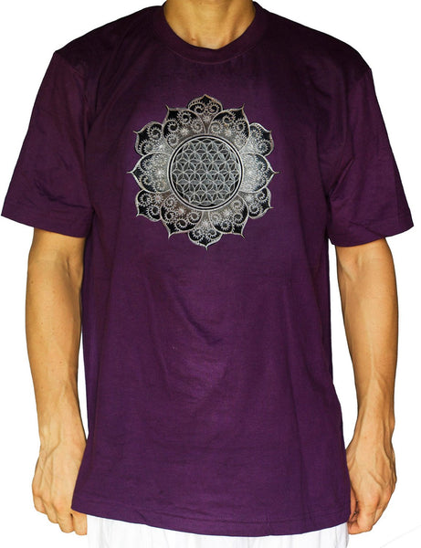 Flower of Life white fractal mandala shirt - sacred geometry embroidery no print drunvalo melchizedek handmade - choose any colour and size