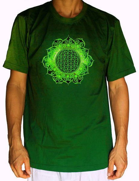 Flower of Life green fractal mandala shirt - sacred geometry embroidery no print drunvalo melchizedek handmade - choose any colour and size