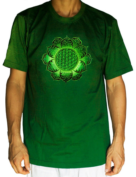 Flower of Life T-shirt green mandala - sacred geometry embroidery no print drunvalo melchizedek handmade - choose any colour and size
