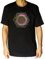 Flower of Life Tshirt purple celtic mandala - sacred geometry embroidery no print drunvalo melchizedek handmade - choose any colour and size
