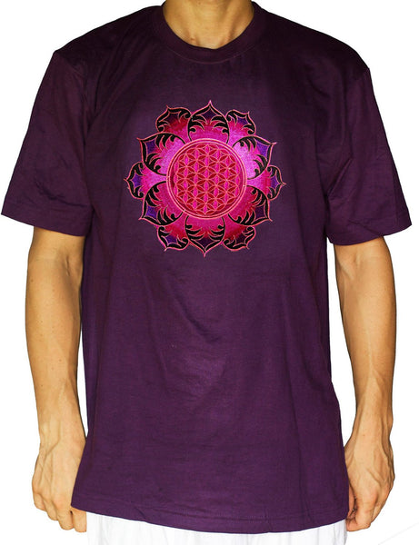 Flower of Life shirt deeppurple mandala - sacred geometry embroidery no print drunvalo melchizedek handmade - choose any colour and size