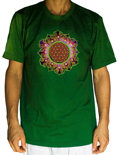 Flower of Life shirt purple fractal mandala - sacred geometry embroidery no print drunvalo melchizedek handmade - choose any colour and size