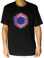 Flower of Life shirt rainbow fractal white - sacred geometry embroidery no print drunvalo melchizedek handmade - choose any colour and size
