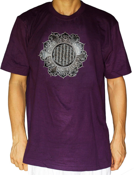 Flower of Life shirt silver celtic - sacred geometry embroidery no print drunvalo melchizedek handmade - choose any colour and size