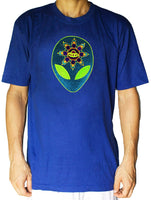UFO T-Shirt blacklight handmade embroidery no print goa t-shirt ET spaceship alien crop circle mandala