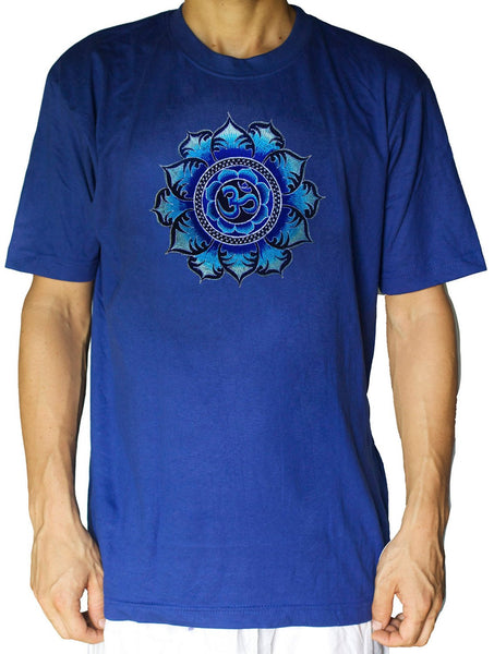 Blue AUM T-Shirt blacklight handmade embroidery no print OM yantra goa t-shirt