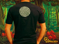 Attributes cropcircle Shirt rainbow fractal mandala blacklight handmade embroidery no print goa t-shirt