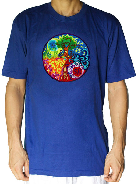 Gaia T-Shirt - planet earth fire air water embroidery no print handmade - choose any colour and size